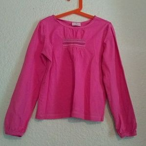 Hanna Andersson 130 Pink Long Sleeve Shirt Smocked
